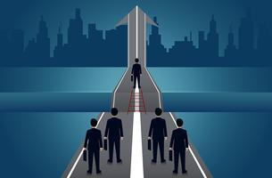 Les hommes d'affaires en compétition sur la route du succès