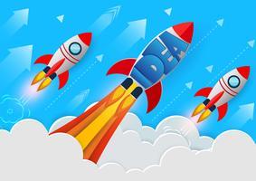 Lancement de fusées vers le ciel