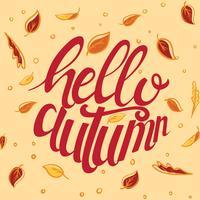 Bonjour typographie d'automne vecteur