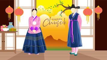 Joyeux coréen Chuseok traditionnel coréen vecteur