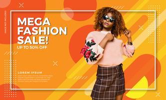 Bannière colorée de vente de mode vecteur