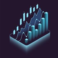 Bourse financière isométrique vecteur
