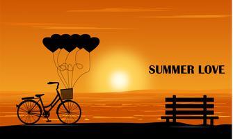 Vélo et banc au coucher du soleil vecteur