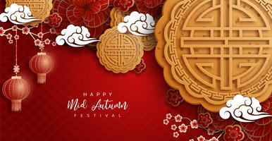 Fond de festival d'automne chinois mi vecteur