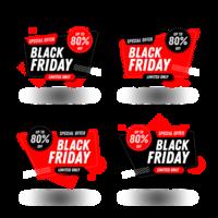 Ensemble de bannières noires vendredi vente vecteur