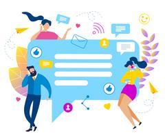 Les gens discutent bulle discours médias sociaux vecteur