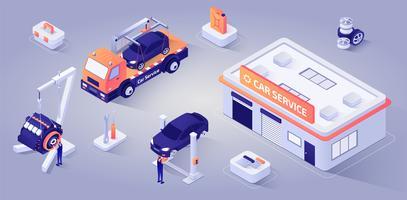 Bâtiment de service de voiture avec des mécaniciens au travail