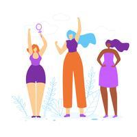Jeunes filles avec les mains en l'air vecteur