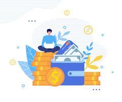 Homme heureux gagne de l'argent en ligne sur la métaphore de l'ordinateur portable vecteur