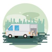 camion de livraison de véhicule de transport vecteur