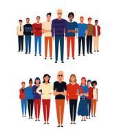 Groupes de personnes avatar vecteur