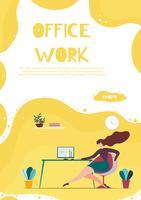 Bannière de travail Office pour application d'entreprise mobile vecteur