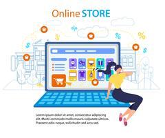 Femme appelez téléphone mobile boutique en ligne boutique internet vecteur