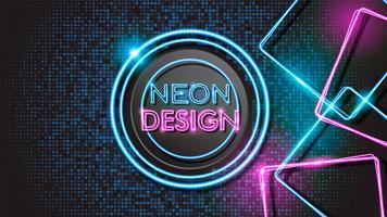 Conception de fond noir néon rougeoyant abstrait rose et bleu vecteur