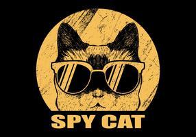 Chat espion avec des lunettes vecteur