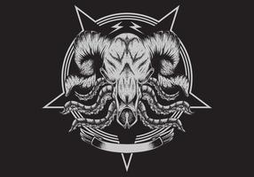 crâne de taureau avec des tentacules vecteur