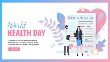 Journée mondiale de la santé Femme Patient Card Man Doctor vecteur
