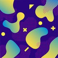 Design de fond de couleur liquide violet et vert avec composition de formes à la mode vecteur