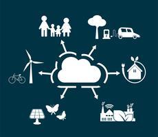 Concept d'écologie de nuage vecteur