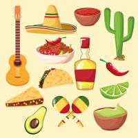 nourriture et éléments mexicains vecteur