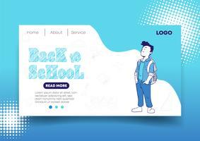Conception Web et page de renvoi pour la rentrée des classes vecteur