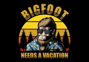 Bigfoot avec arbres et coucher de soleil rétro vecteur