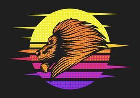 illustration vectorielle rétro lion coucher de soleil