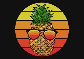 ananas avec des lunettes vecteur