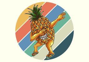 tamponnement rétro d'ananas vecteur