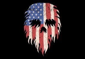 crâne en drapeau usa