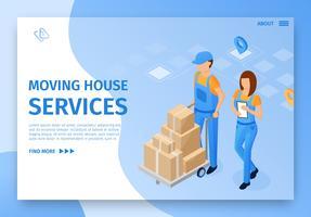 Flat Banner Inscription Services de déménagement vecteur