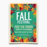 Modèle de flyer ou affiche du festival d'automne vecteur