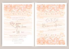 Invitation de mariage orange vecteur