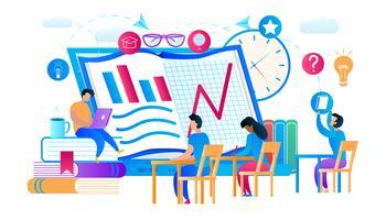Jeunes mecs et filles apprenant des cours sur Internet vecteur