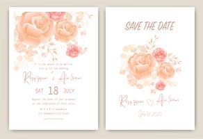 Carte d'invitation de mariage grappe de rose Cadre floral dessiné à la main
