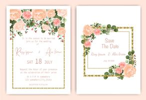 Carte d'invitation de mariage cadre carré rose