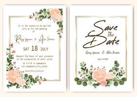 Invitation de mariage floral dessiné à la main vecteur