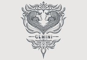 signe du zodiaque vintage gemini