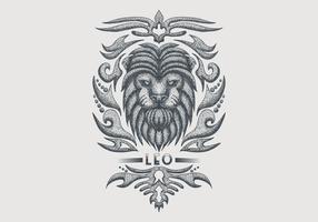 signe du zodiaque leo vintage vecteur