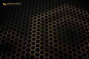 Motif dégradé de technologie futuriste hexagonal