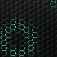 Motif de technologie hexagonale noir et vert vecteur