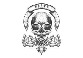 crâne avec ruban vintage