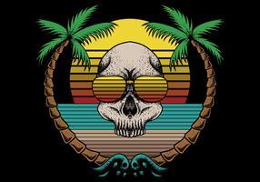 crâne rétro et scène de plage