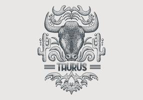 Signe du zodiaque Vintage Taureau vecteur