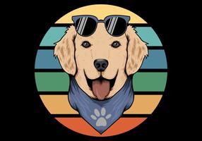 chien rétro portant un bandana vecteur