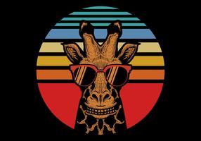 girafe devant le coucher de soleil rétro vecteur
