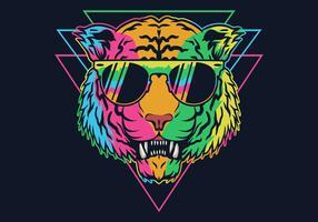 Tigre coloré portant des lunettes vecteur