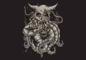 Crâne kraken avec illustration vectorielle ancre