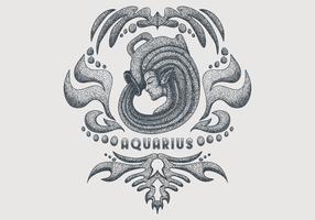 signe du zodiaque aquarius vintage vecteur