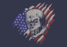 crâne devant le drapeau américain